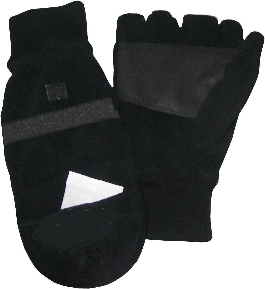 Black Fleece Mitten/Open Finger Gloves With Two Pair Heat Paks - Mens Large