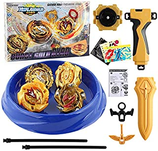 Bey Burst Battle Evolution 4 in 1 Metal Fusion Attack Set with 4D Launcher Grip Gyro Set (Gold)