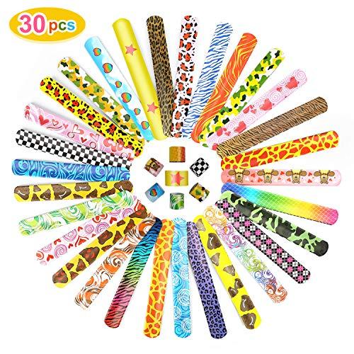 Ucradle 30 Pezzi Schiaffo Braccialetti Festa Slap Bracelets per Bambini, Divertenti e Super Slap Bands con Cuori Colorati Animali Emoji, Idea Regalo per Bambini, Ragazze e Ragazzi