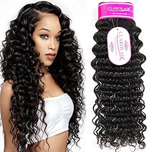 ClAROLAIR Brazilian Curly Hair Bundles Brazilian Deep Curly Human Hair Weave extensions locken echthaar Brazilian Hair Bundles 95g±5g Single One Bundle 20 INCH