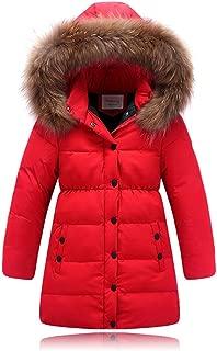 Seeduck Big Girls' Winter Parka Down Coat Puffer Jacket Padded Overcoat with Fur Hood