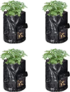 Grow Bags 4 Pack 10 Gallon Potato Planter Bag, Strong Planted Barrels with Access Flap and Handles, for Garden Vegetable P...