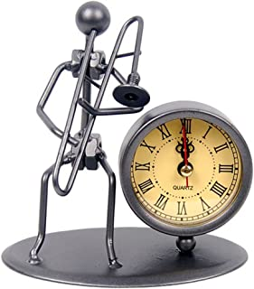 Classic Vintage Old Fashion Iron Art Musician Clock Figure Ornament For Home Office Desk Decoration Gift (C66 Trombone)