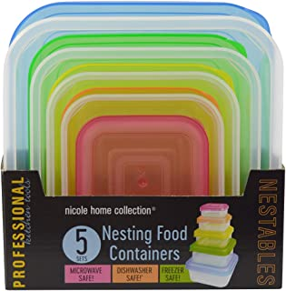 Nicole Home Collection Nesting Food Containers with Multicolor Lids-Microwave, Dishwasher & Freezer Safe (Square)