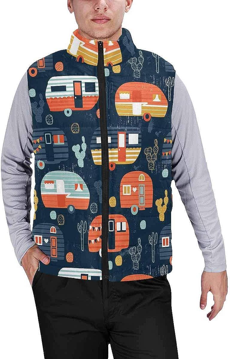 InterestPrint Men's Outdoor Casual Stand Collar Sleeveless Jacket Orange African Background