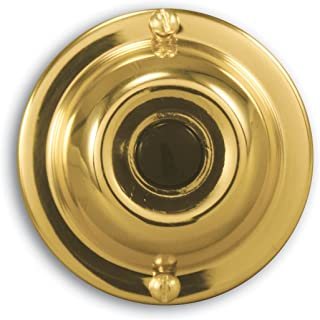 Heath Zenith SL-913-02 Wired Push Button, Polished Brass Finish with Black Center Button