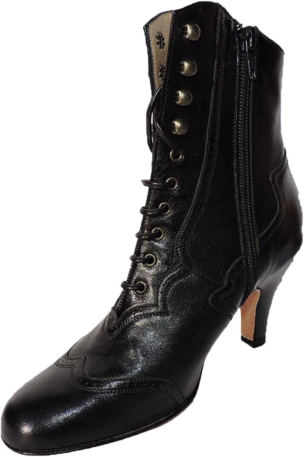 Anyi Lu Briana Womens Black 3  Heel Nappa Leather Snkle Boots, Lace up Booties Size 35 EU, 5 US