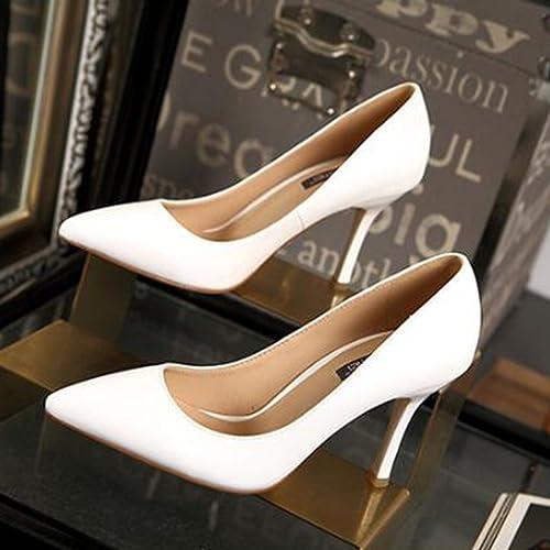 Ren Chang Jia Shi Pin Firm Femme été talons talons hauts talons haut aide sexy fine avec des chaussures simples travail chaussures élégantes en cuir talons hauts (Couleur   Blanc, Taille   37)