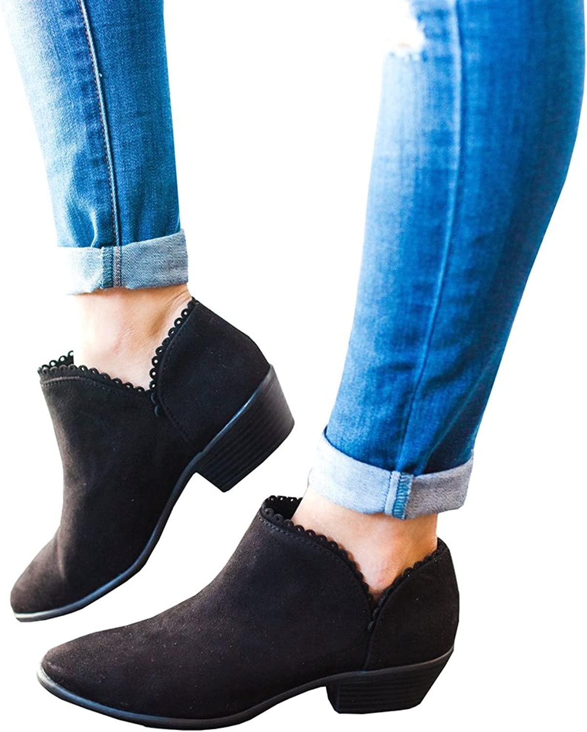 Ferbia Women's Pointed Toe Boots Stacked Low Block Heel Ankle Bootie Zip Up shoes