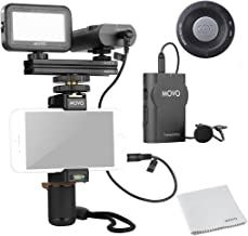 Movo Smartphone Video Kit V2 with Grip Rig, Wireless Lavalier Microphone, LED Light and Wireless Remote - YouTube Equipment for iPhone 5, 5C, 5S, 6, 6S, 7, 8, X, XS, XS Max, Samsung Galaxy, Note