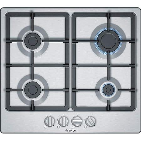 Bosch Electroménager PGP6B5B90 Plaque gaz - Plaque de cuisson 4 foyers [Classe énergétique D] 6 L58,2cm x P52cm - Acier Inox