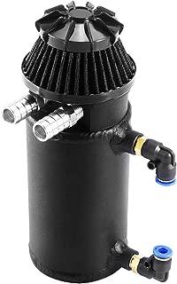 Qiilu Universal Car Oil Reservoir Can Kit, Reservoir Catch Breather Filter Baffled Aluminum (Black)