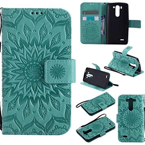 pinlu® PU Leder Tasche Etui Schutzhülle für LG G3 s (5 Zoll) Lederhülle Schale Flip Cover Tasche mit Standfunktion Sonnenblume Muster Hülle (Grün)