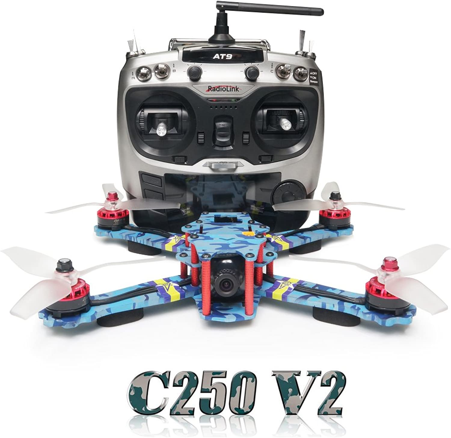 ARRIS C250 V2 250mm RC Quadcopter FPV Racing Drone RTF w Flycolor 4in1 STower + Radiolink AT9 + 4S Battery + HD Camera