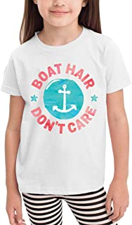 Aiguan Boat Hair Don't Care Toddler Short Sleeve T-Shirt Cozy Top for Little Boy & Girl White
