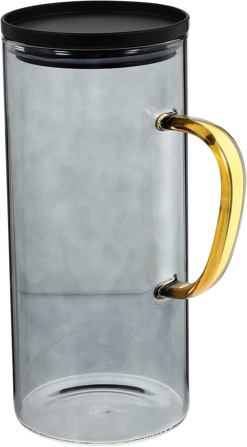 Cabilock 1. Jarra de Agua de 5L con Mango Jarra de Agua de Vidrio Jarra de Jugo con Tapa Y para Bebidas Caseras Jarra de Té Helado Jarra de Bebida para Té Helado