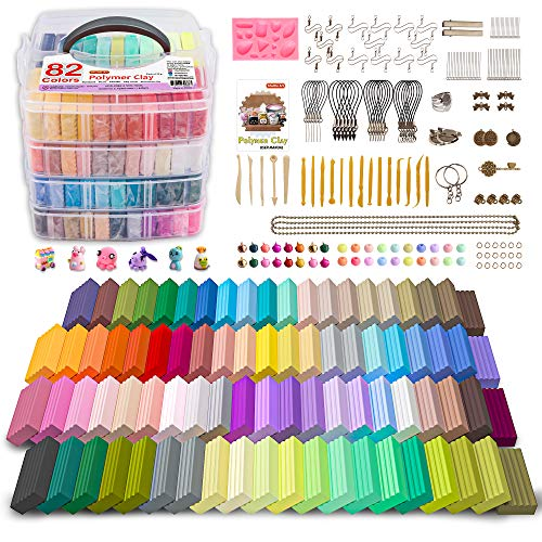 Polymer Clay, Shuttle Art 82 Colors 1.2 oz/Block Oven Bake Modeling Clay Kit with 19 Sculpting Clay Tools and 16 Kinds of Accessories, Non-Stick, Non-Toxic, Ideal DIY Art and Craft Gift for Kids