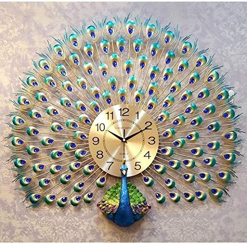 AISHANG Reloj de pared con diseño de pavo real para sala de estar, diseño de pavo real