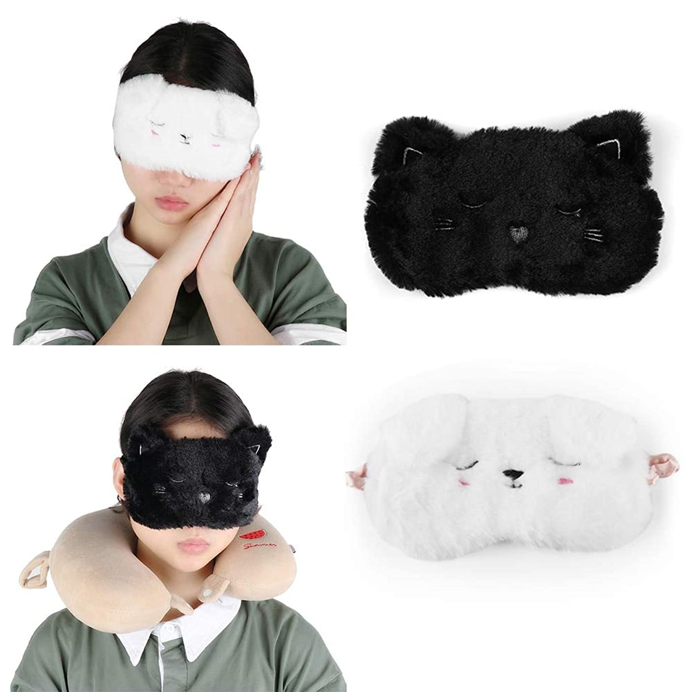 効率的パッケージまで注漫画黒白猫子猫アイマスクホームトラベルゴーグルシェーディング睡眠仮眠アイマスク睡眠&いびきアイマスク睡眠アイシェード