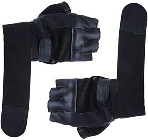 5 O'CLOCK Sports Leather Gym Gloves for Men with Wrist Support Band for Weight Lifting and Exercise Black Color