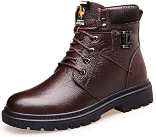 Winter Martin Boots Men's Boots Leather Plus Velvet Warm Men's Leather Boots High Boots Men (Color : Brown, Size : 42)