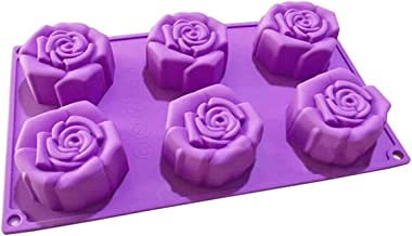 Silicone Moulds, MKNZOME 6 Cavity Rose Shaped Soap Mould Baking Bakeware Mold for Cake Soap Candy Chocolate Cupcake Jelly ...