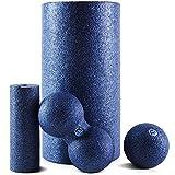 Fas-Train® Faszienrolle - [4-teiliges] Foam Roll Set für effektives Faszientraining - Starter-Set für den perfekten Einstieg ins Training mit Massagerollen - Inkl. Poster & Tasche I Schaumstoffrolle
