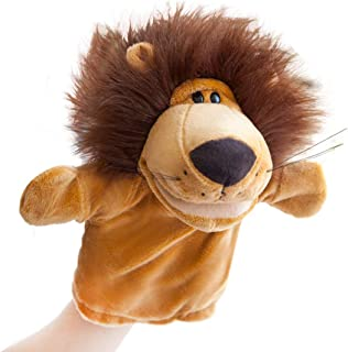 Hand Puppets Jungle Animal Friends with Working Mouth for Imaginative Play, Storytelling, Teaching, Preschool & Role-Play (Lion)