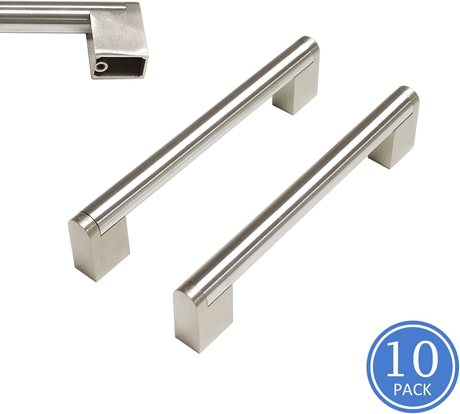 Knobonly 5 inch Hole Spacing Boss Bar Brushed Nickel Finish Kithchen Cupboard Handles Cabinet Pulls Door Handles-10 Pack