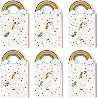 Hemoton 24 Stks Eenhoorn Party Gunstzakken Cartoon Papier Zakken Goodie Behandeling Zakken Snoep Tassen Handheld Papier Za...