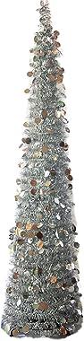BESTOYARD Alta plastica Pieghevole telescopico Albero di Natale Partito Home Decor 150cm 1Pezzi (Argento)