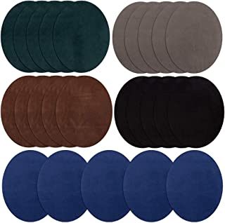 Iron On Patches 25 Pieces, Repair Patches 5 Colors Oval Suede Cowhide Elbow Patches Elbow Knee Iron-on Velvet Patches for Sweater Repair Crafts Repair Kit for Clothing Jeans (B)