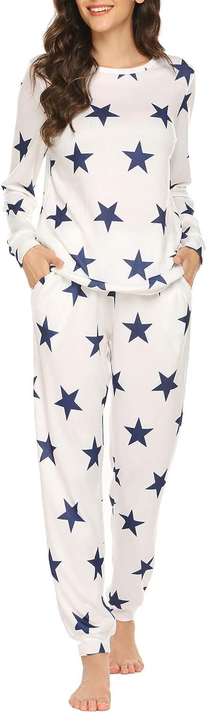 Ekouaer Womens Pajama Set Long Ranking TOP10 Night Sleeve Manufacturer regenerated product Print Sleepwear Star