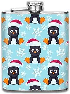 Flask for Liquor 7 Oz Leak Proof Stainless Steel Pocket Hip Flask Cover for Discrete Shot Drinking of Alcohol, Whiskey, Rum and Vodka, Gift for Men, Christmas Little Penguin Pattern