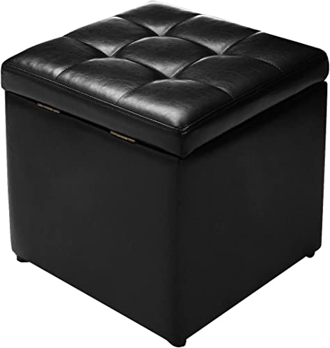 """new arrival Giantex 16"""" Cube Ottoman Pouffe Storage Box Lounge online Seat lowest Footstools W/ Hinge Top and Bottom Feet Home Living Room Bedroom Furniture Storage Ottoman 16""""×16"""" ×16""""Footrest Stool (Black) outlet online sale"""