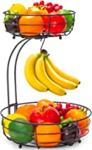 Auledio 2-Tier Countertop Fruit Vegetables Basket Bowl Storage With Banana Hanger, Brone