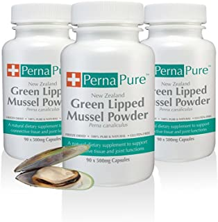 PernaPure Green Lipped Mussel Capsules – Omega 3 Fatty Acid, Chondroitin, Calcium Supplement for Joint Health, Anti-Inflammatory, Arthritic Care – for Human Use (3 Bottles)