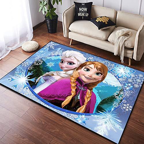 YAN Teppich Cartoon Frozen Kinderzimmer Dekoration Wohnzimmer Schlafzimmer Schlafsofa Anti-Rutsch-Matte Schallschutz Korridor Feuchtigkeitsbeständiger Blauer Teppich