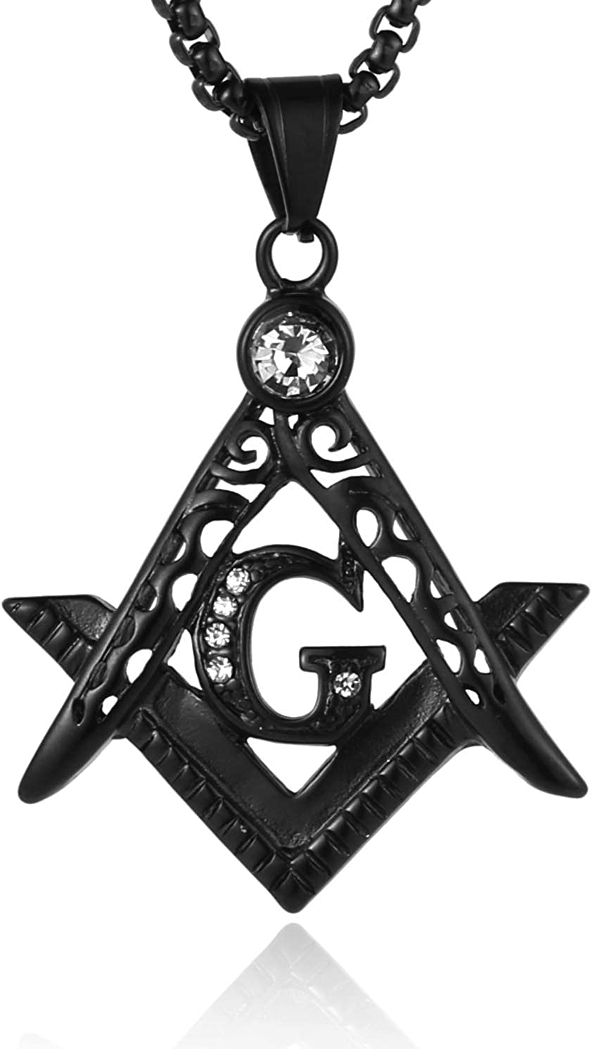 HZMAN Mens Cubic Zirconia Freemason Symbol Masonic Stainless Steel Pendant Necklace 22+2 inch Chain
