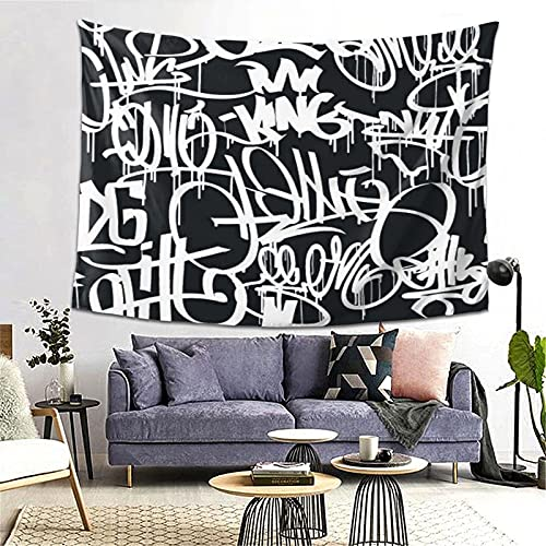 Tapiz Tapestry Wall Hanging Bedding Tapestry,Graffiti Street Art Hip Hop Tags Black And White Seamless Pattern,Beach Throw Tapestry Table Cover Curtain Home Decoration Wall Art Bedroom Dorm