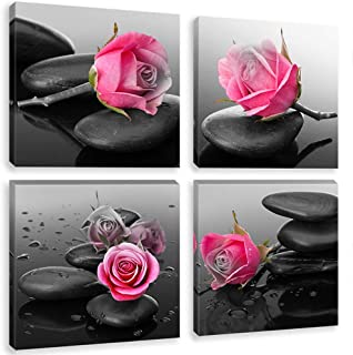Black and White Red Rose Wall Art Prints Zen Stone Canvas Painting Elegant Flower Framed Pictures SPA Yoga Room Bathroom Decoration