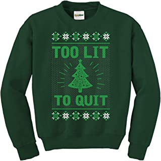 Women's Too Lit Green Christmas Tree Ugly Christmas Sweater for Ladies
