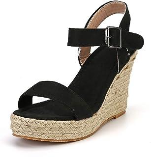 b57c7903f5e Sandale Compensées Femme Plateforme Été Espadrilles Bout Ouvert Bohême  Wedge Chaussures à Sangle Talon 10.5 cm