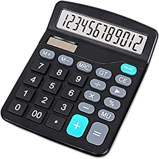 KK-837-12S ELECTRONIC Calculators, Standard Function Electronics Calculator, 12 Digit Large Lcd Display, Handheld For Daily And Basic Office, Black