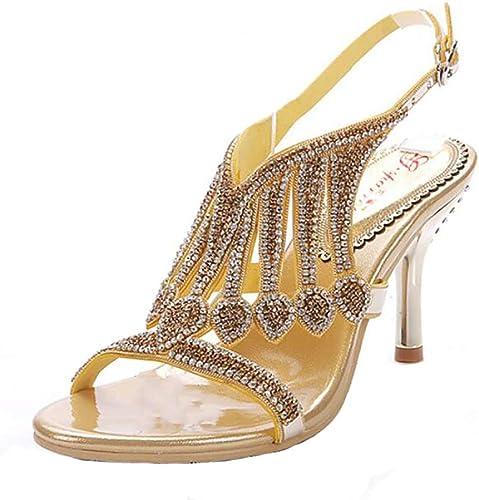Unbekannt Sandales Mode D'été Aux Femme Gros Strass Cristal Haut Talon Plage Rond Sandale à Bout Chaussures,or,40
