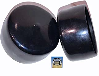 (Pack of 4) SBDs 2 Inch Round Black Vinyl End Caps, Flexible Push-On Pipe Post Rubber Covers | All Caps 1
