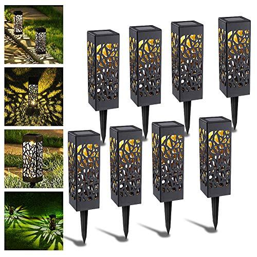 ASANMU Solarleuchte Garten Outdoor, 8 PCS Solar Gartenleuchte Wasserdicht LED Solarlampe Gartenleuchte Solarlampen für Außen LED Warmweiß LED Solarleuchte für Garten/Terrasse/Gehweg/Camping/Hochzeiten