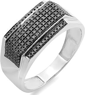 Dazzlingrock Collection 0.48 Carat (ctw) Black Diamond Men's Flashy Hip Hop Pinky Ring 1/2 CT, Sterling Silver