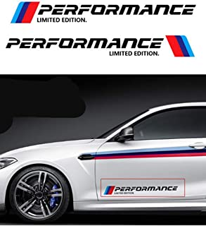 Health mall M-Colored Stripe Decal Sticker for B M W M Performance Exterior Cosmetic Such As Hood/Bonnet Trunk Side Skirt Bumper Etc(2 Pcs)