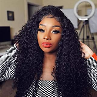 OseMy Lace Front Wig Heat Resistant Fiber Synthetic Wig for Women Long Loose Curly Wig Lace Front Wig Glueless Kanekalon Fiber Synthetic Hair Black 24 inches (Lace Front Wig 24inch, Black)